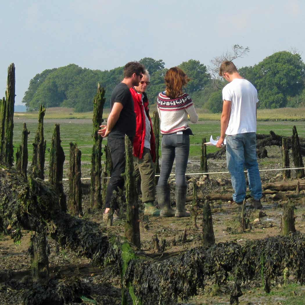 group of people looking at the ground in a costal marsh.